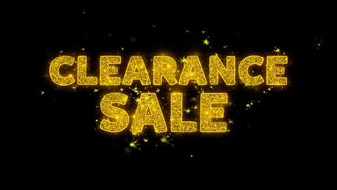 Clearance Sale Text Sparks Particles on Black Background Live Action