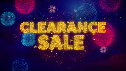 Clearance Sale Text on Colorful Ftirework Explosion Particles Live Action
