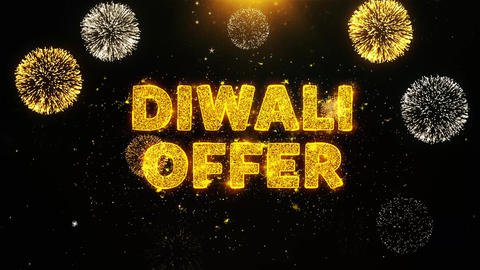 Diwali Offer Text on Firework Display Explosion Particles Footage