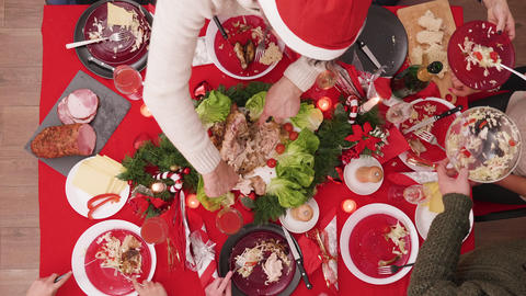 Timelapse Top view of family celebrating christmas with a feast Footage