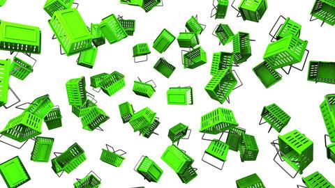 Green Shopping baskets on white background Animation