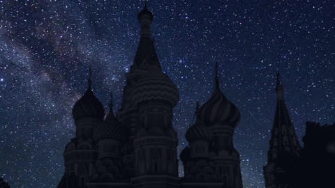 time lapse with stars, Kremlin in Moscow, Russia Live Action