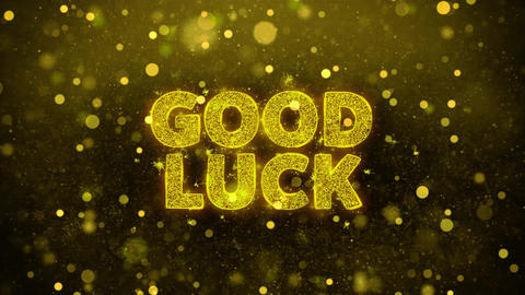 Good Luck Text on Golden Glitter Shine Particles Animation Live Action