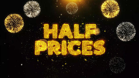 Half Prices Text on Firework Display Explosion Particles Live Action