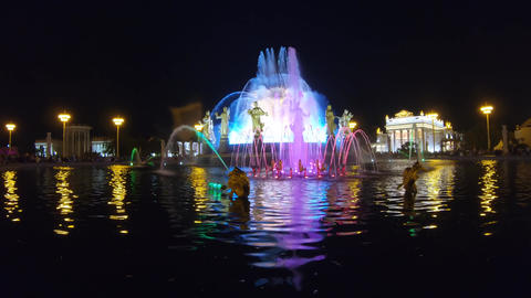 Renewed Fountain of Friendship at night Footage