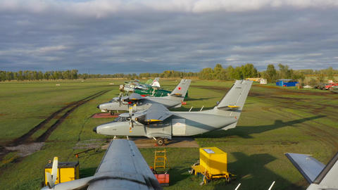 Small motor aircraft are parked at the airport 003 Footage