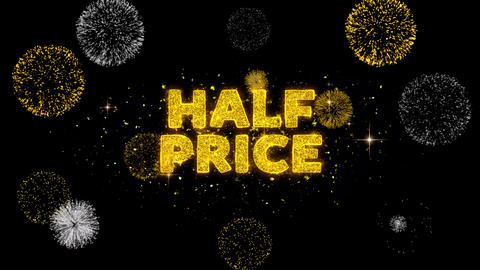 Half Price Text Reveal on Glitter Golden Particles Firework Live Action