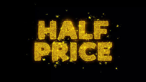 Half Price Text Sparks Particles on Black Background Live Action