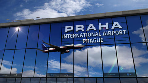 Airplane landing at Praha (Prague in Czech) mirrored in terminal Live Action