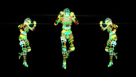 Three Colorful Robots Dancing Running Man Video Loop Animation