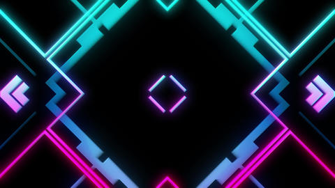 Abstract Retro Styled VJ Visual Of Moving Brightly Colored Lines Animation