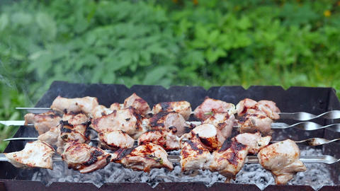 Close up skewers on grill at bbq event outdoor. Marinated meat grilling on smoking grill on green Footage