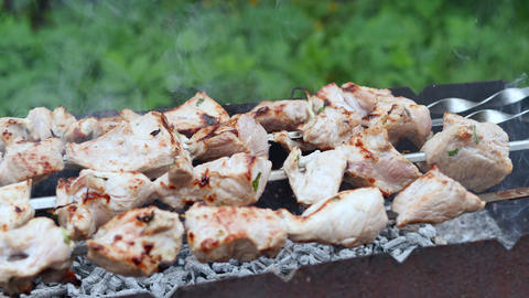 Close up meat skewers on grill at bbq outdoor. Meat grilling on smoking grill Footage