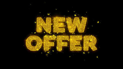 New Offer Text Sparks Particles on Black Background Live Action