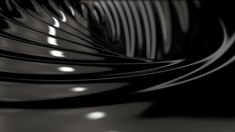 Black wavy substance animation with reflections CG動画