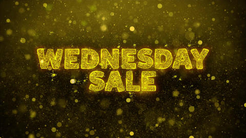 Wednesday Sale Text on Golden Glitter Shine Particles Animation Live Action