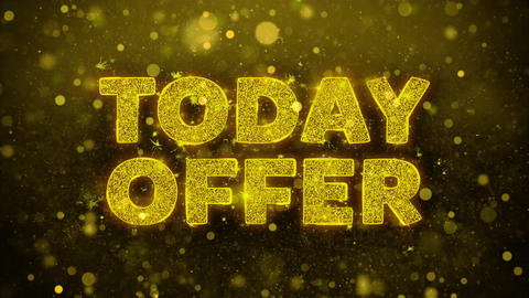 Today Offer Text on Golden Glitter Shine Particles Animation Footage