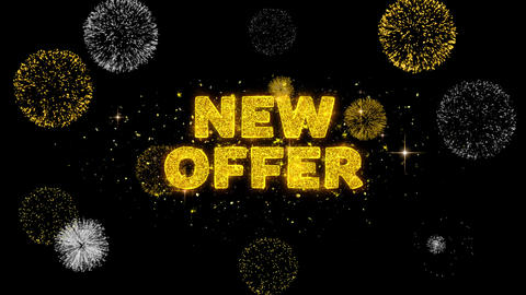 New Offer Text Reveal on Glitter Golden Particles Firework Live Action