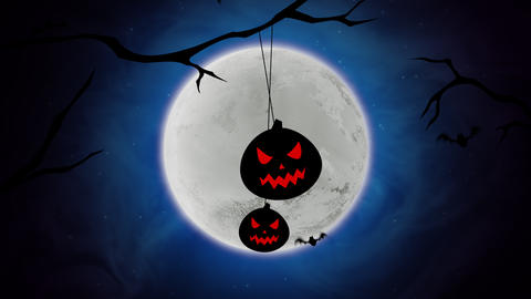 Halloween background animation with the bats and pumpkins on trees Animation
