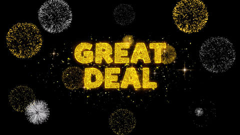 Great Deal Text Reveal on Glitter Golden Particles Firework Live Action