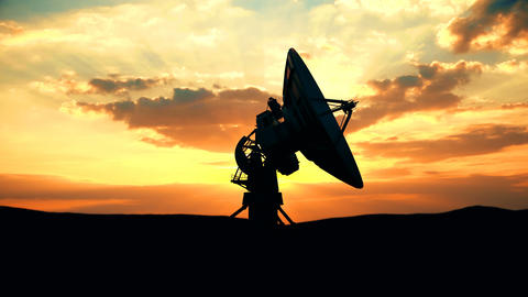 Military radar exploring evening sky against scenic sunset Animation