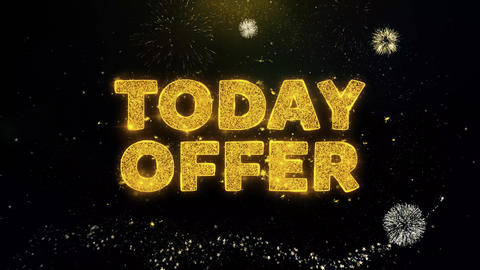 Today Offer Text on Gold Particles Fireworks Display Footage