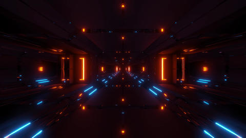 dark futuristic scifi tunnel corridor 3d illustration wallpaper background Animation