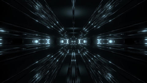dark scifi tunnel corridor with reflective contur wireframe 3d illustration Animation