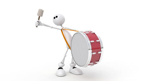 The 3D white person goes with a big drum Animation