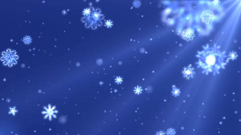Snow flakes falling loop animation design element with blue background After Effects Template