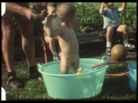 Baby in pool (vintage 8mm home movie) Footage