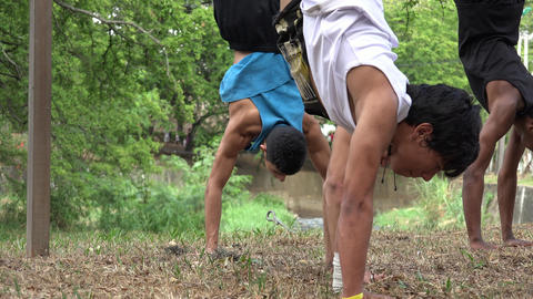 Kids Doing Hand Stands Footage