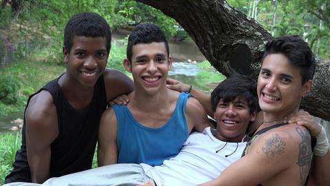 Teen Boys Diverse Friends Footage