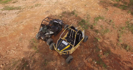 Aerial of UTV off road four wheel drive Footage