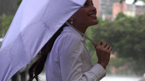 Woman with Umbrella in Rainy Weather Footage