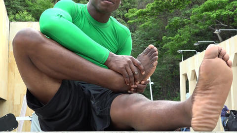 Athletic African Man Stretching Live Action