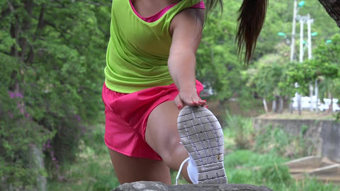 Fit Woman Stretching And Exercising Footage