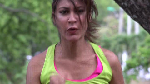 Fit Female Jogger Running Footage
