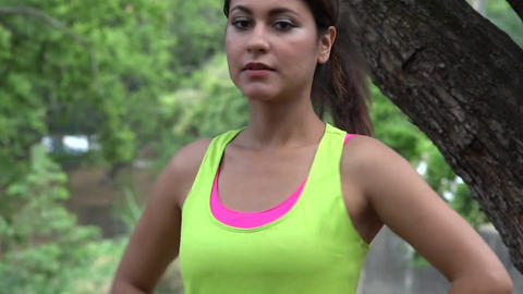 Fitness Woman Toning And Stretching Live Action