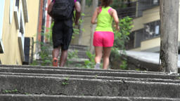 Joggers Running Up And Down Stairs Footage