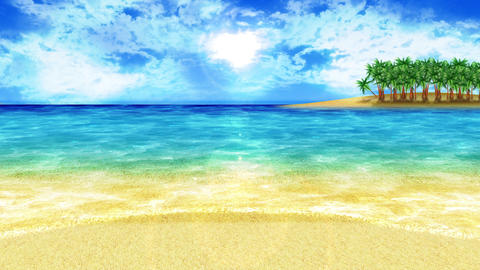 Wave lapping onto the shore, southern land, sun, loop Animation