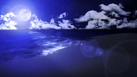 Wave lapping onto the shore, southern land, night, loop Animation