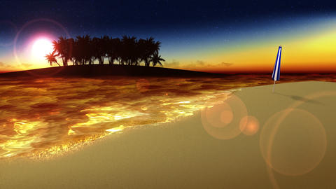 Wave lapping onto the shore, southern land, sunset, loop Animation