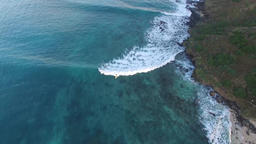 Surfer ride the wave. Kailua Mokes Hawaii island aerial survey Footage