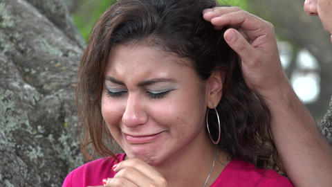 Woman Crying Outdoors Live Action
