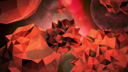 Rotating jagged orange orbs in space Footage