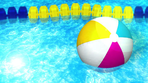 swim in a swimming pool, rope, beach ball, loop, cg Animation