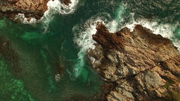 2 rocky headland and ocean wave at aerial overview Footage