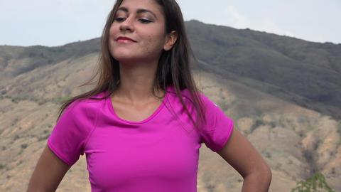 Woman With Pink Shirt In Mountains Footage