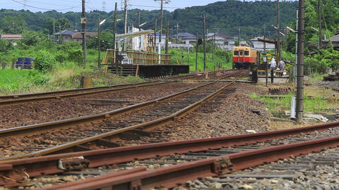 Countryside landscape, railway and train station./日本の田舎風景、駅と Live Action